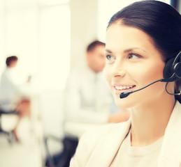 female helpline operator in call center