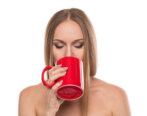Beautiful woman with coffee.