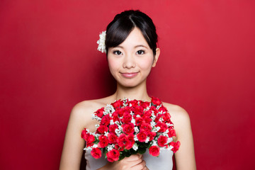 attractive asian woman wedding image on red background