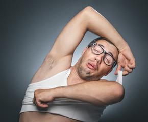 Funny sleepy tired man