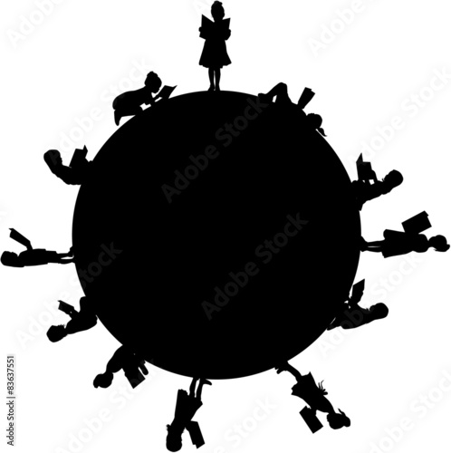 Silhouette of a girl reading a book. - 83637551