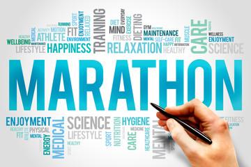 MARATHON word cloud, fitness, sport, health concept
