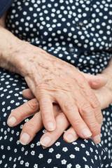 Close-up shoot of hands of senior woman