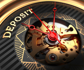 Deposit on Black-Golden Watch Face.