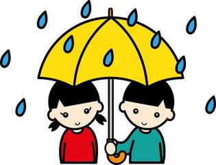 雨の中傘をさす子供たち
