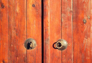 Closed vintage wooden door