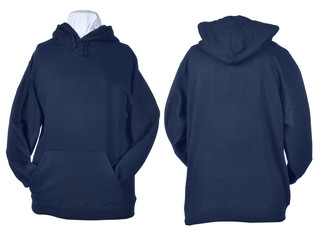Two side of wrinkled blue black shirts