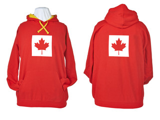 Two side of wrinkled flagged Canada Red shirts