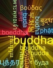 Buddha multilanguage wordcloud background concept glowing