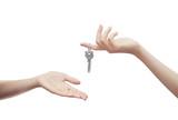 Fototapety Mani con chiavi sfondo bianco