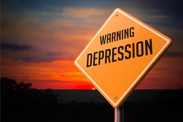 Depression on Warning Road Sign.