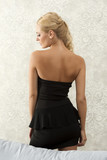 pretty girl in black on back side