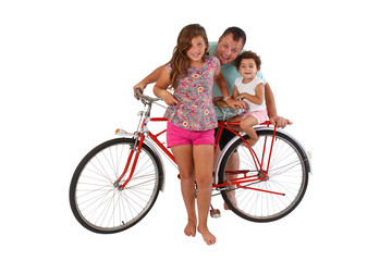 Family for retro riding bicycle