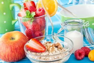 Breakfast - Oat flakes, fruits and yogurt