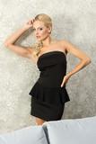 pretty elegant girl in black posing