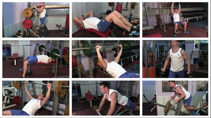 fit man doing workout at the gym, montage