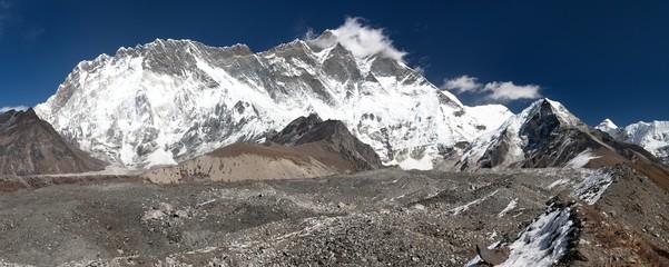Panoramic view of mount Lhotse and Island Peak