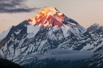 Evening panoramic view of mount Dhaulagiri - Nepal