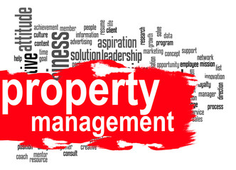 Property management word cloud with red banner