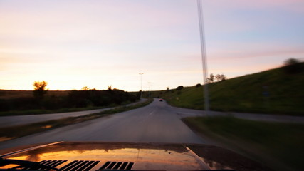 Car moving on road - on board camera