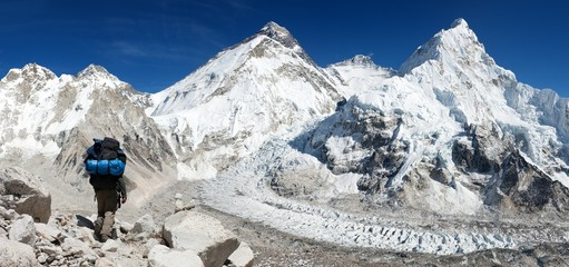 Everest from Pumo Ri base camp with tourist