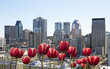 Montreal cityscape with red tulip in front