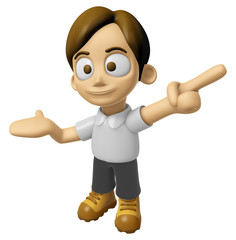 3D Man Mascot is points a finger one direction. Work and Job Cha