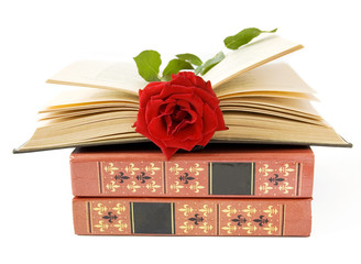 Book pile with rose isolated on white background