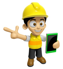 3D Construction Worker Man Mascot the right hand guides and the