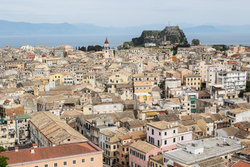 Panorama of the capital of Corfu, Greece