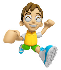 3D Child Mascot on Running. Work and Job Character Design Series