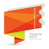 Abstract paper ticket illustration background. Vector logo.