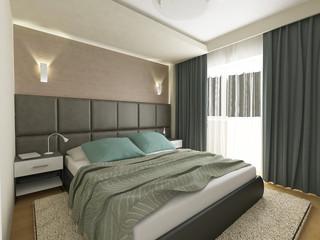 a 3d render of an elegant bedroom