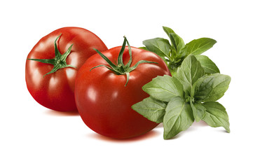 Whole red tomatoes and basil isolated on white background
