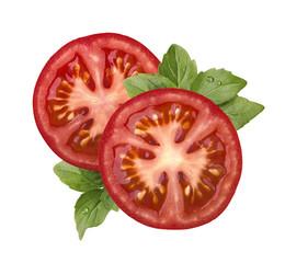 Tomato slice and basil isolated on white background