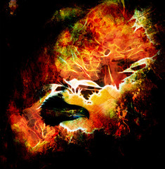 fenix in fire on an abstract background, color spot structure
