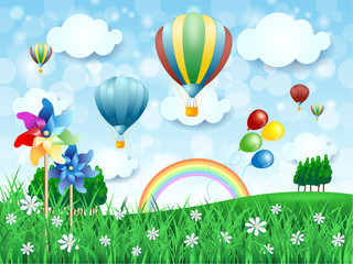 Spring landscape with hot air balloons