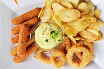 tasty fish sticks and potatoes