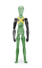 Wood figure mannequin with flag bodypaint - Jamaica