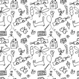 Seamless pattern, drawn in a childlike style.  poster