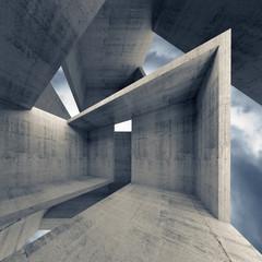 Abstract architecture, empty concrete interior 3d
