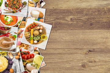 food photos on a wooden background