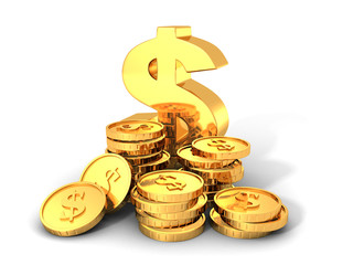 Golden Dollar Symbol With Stacks Of Coins