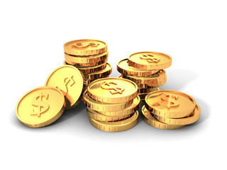 Piles Of Golden Dollar Currency Coins