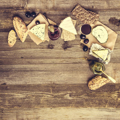 French snacks on a wooden table