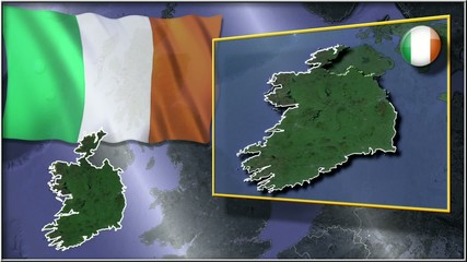 Eire flag and map animation