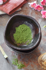 Matcha green tea .Preparation of powdered green tea