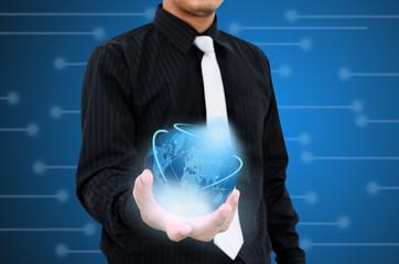 Holding modern world technology communication