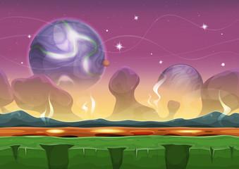 Fantasy Seamless Sci-fi Alien Landscape For Ui Game