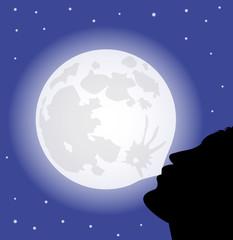 uomo fa un pallone con la luna piena